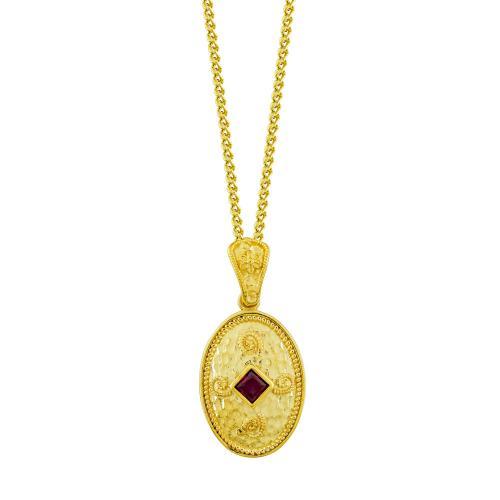 Βυζαντινό Κολιέ με Κόκκινη Πέτρα από Επιχρυσωμένο Ασήμι KL1004