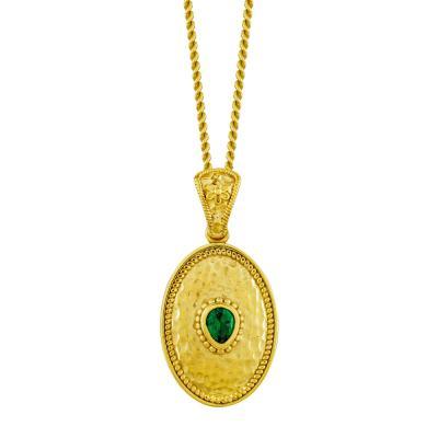 Βυζαντινό Κολιέ με Πράσινη Πέτρα από Επιχρυσωμένο Ασήμι KL998