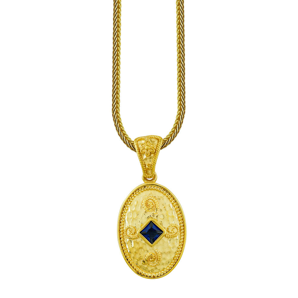 Βυζαντινό Κολιέ με Μπλε Πέτρα από Επιχρυσωμένο Ασήμι KL999