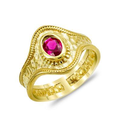 Δαχτυλίδι με Kόκκινη Πέτρα από Επιχρυσωμένο Ασήμι DX893