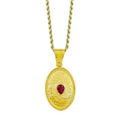Βυζαντινό Κολιέ με Κόκκινη Πέτρα από Επιχρυσωμένο Ασήμι KL997