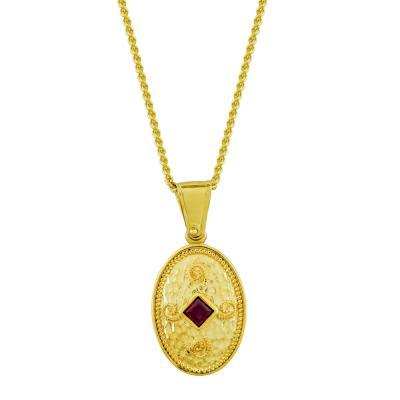 Βυζαντινό Κολιέ με Κόκκινη Πέτρα από Επιχρυσωμένο Ασήμι KL996