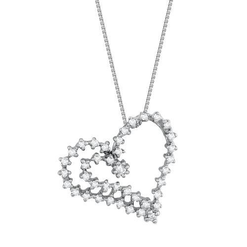 Koλιέ Καρδιά Με Διαμάντια Brilliant από Λευκό Χρυσό K18 KL35110