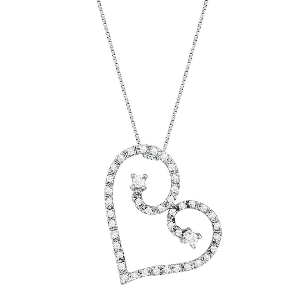 Koλιέ Καρδιά Με Διαμάντια Brilliant από Λευκό Χρυσό K18 KL30796