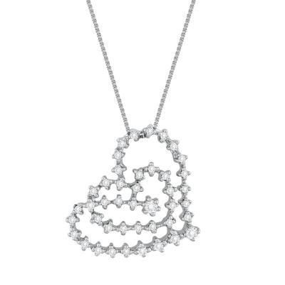 Koλιέ Καρδιά Με Διαμάντια Brilliant από Λευκό Χρυσό K18 KL35066