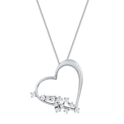 Koλιέ Kαρδιά Με Διαμάντια Brilliant από Λευκό Χρυσό K18 KL30792