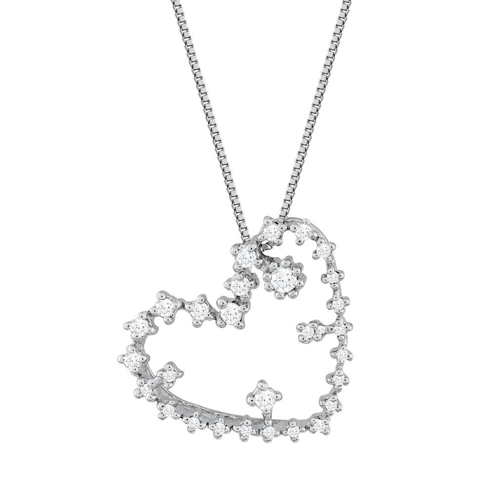 Koλιέ Καρδιά Με Διαμάντια Brilliant από Λευκό Χρυσό K18 KL36253