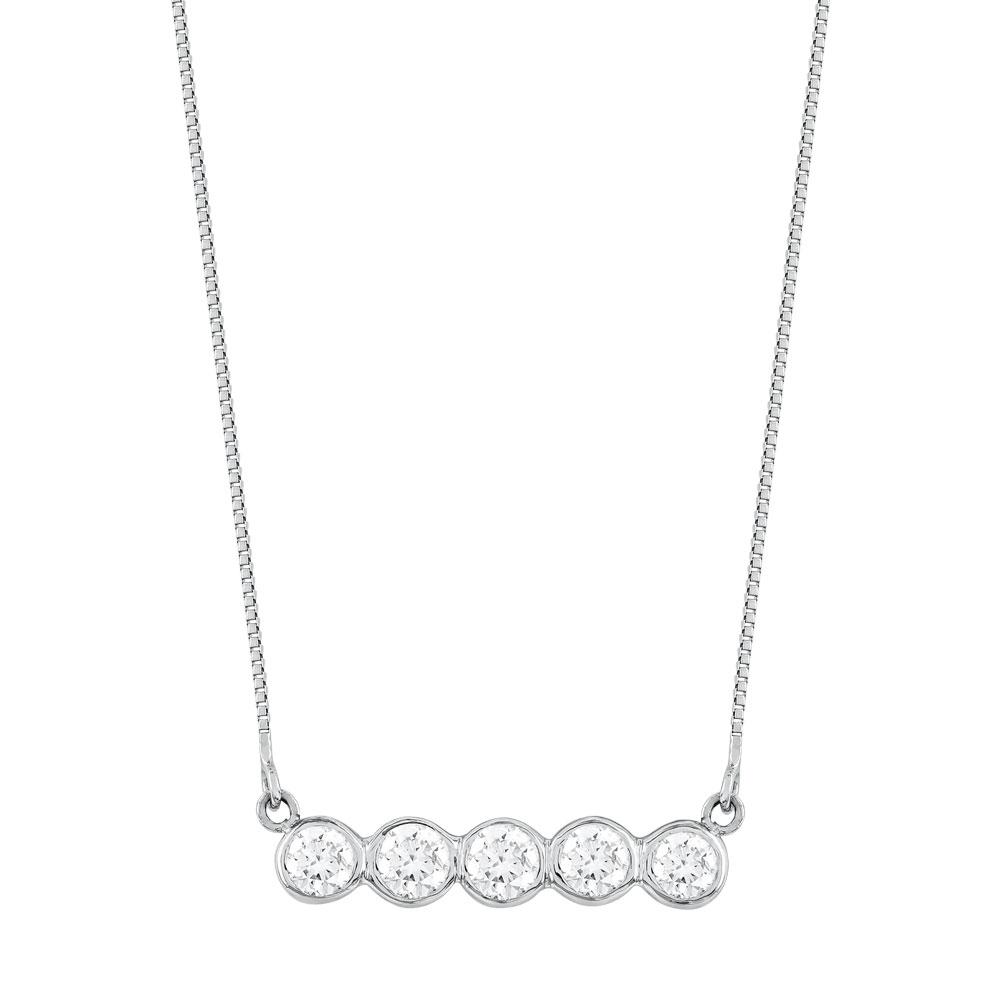 Koλιέ Με Διαμάντια Brilliant από Λευκό Χρυσό K18 KL1032