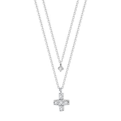 Διπλό Koλιέ Με Διαμάντια Brilliant Επιπλατινωμένο K14 KL1023