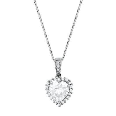 Koλιέ Καρδιά Με Διαμάντια Brilliant από Λευκό Χρυσό K18 KL31192