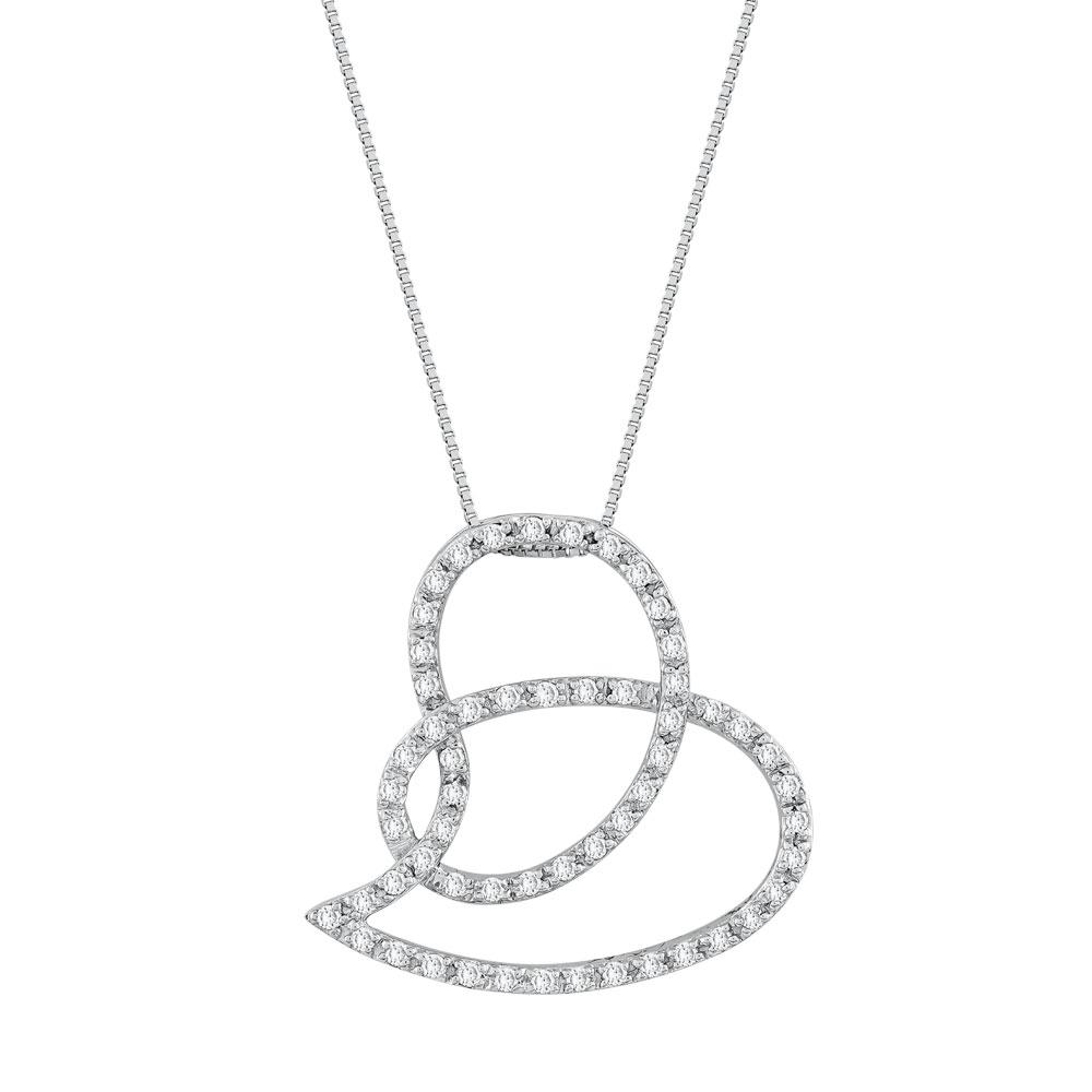 Koλιέ Kαρδιά Με Διαμάντια Brilliant από Λευκό Χρυσό K18 KL30795