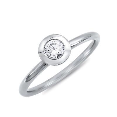 Μονόπετρο Δαχτυλίδι Με Διαμάντια Brilliant από Λευκό Χρυσό K18 DDX4758