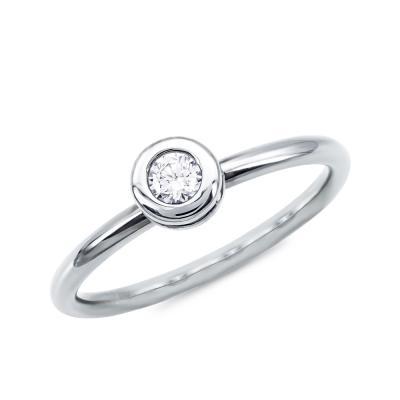 Μονόπετρο Δαχτυλίδι Με Διαμάντια Brilliant από Λευκό Χρυσό K18 DDX4781W