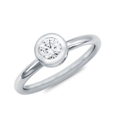 Μονόπετρο Δαχτυλίδι Με Διαμάντια Brilliant από Λευκό Χρυσό K18 DDX4782