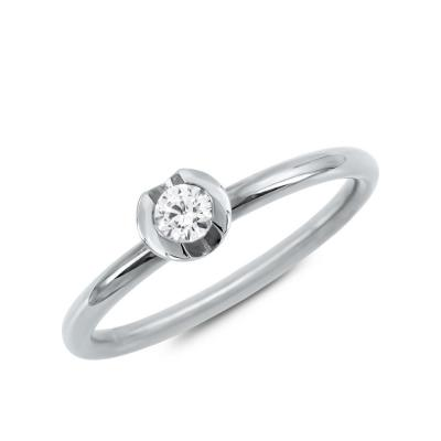 Μονόπετρο Δαχτυλίδι Με Διαμάντια Brilliant από Λευκό Χρυσό K18 DDX4787W