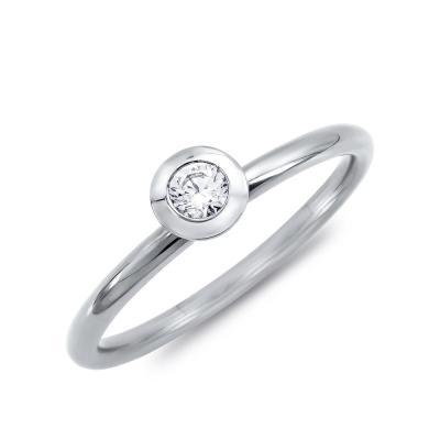 Μονόπετρο Δαχτυλίδι Με Διαμάντια Brilliant από Λευκό Χρυσό K18 DDX4757W