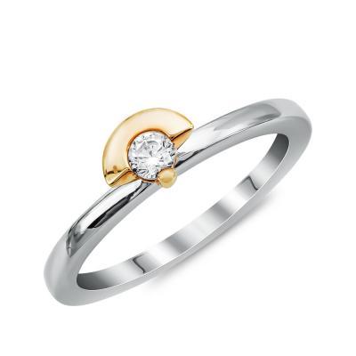 Μονόπετρο Δαχτυλίδι Με Διαμάντια Brilliant από Δίχρωμο Χρυσό K18 DDX4763