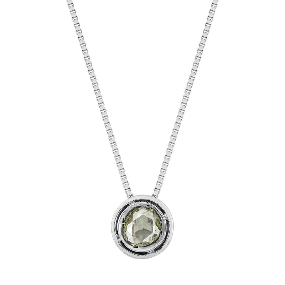 Koλιέ Μονόπετρο Με Διαμάντι από Λευκό Χρυσό K18 KL1036