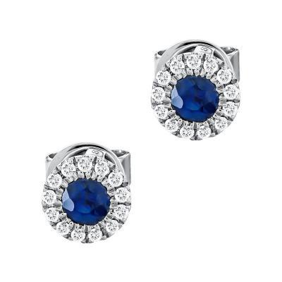 Σκουλαρίκια με Ζαφείρι και Διαμάντια Από Λευκό Χρυσό Κ18 SK111025