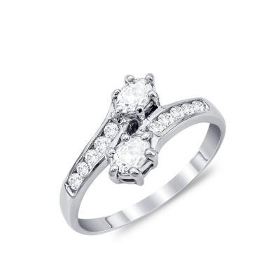 Μονόπετρο Δαχτυλίδι από Λευκό Χρυσό Κ18 DX887