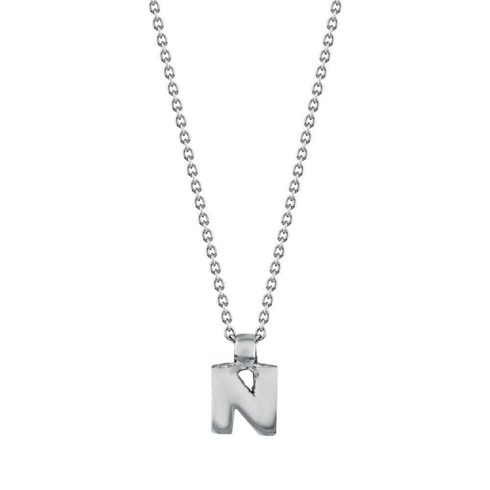 """Μονόγραμμα Μενταγιόν """"Ν"""" Από Ασήμι MG206"""