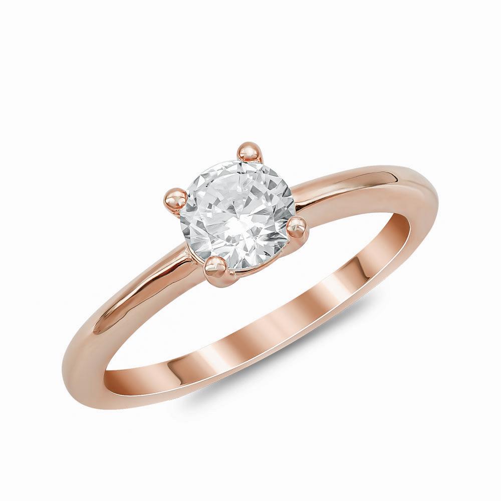 Μονόπετρο Δαχτυλίδι από Ροζ Επιχρυσωμένο Ασήμι DX914