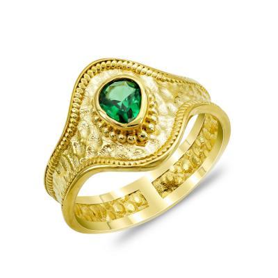 Δαχτυλίδι με Πράσινη Πέτρα από Επιχρυσωμένο Ασήμι DX889