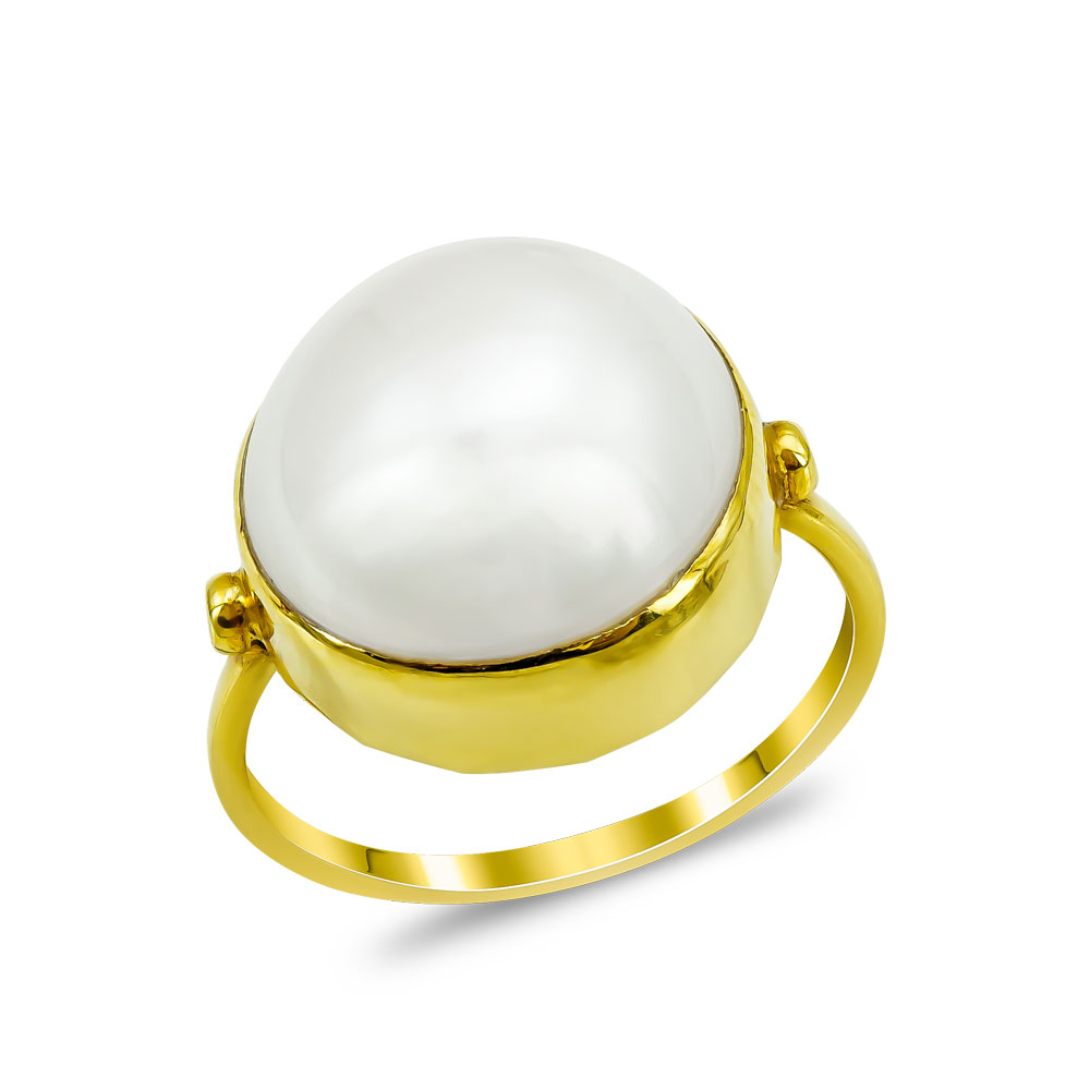 Χειροποίητο Δαχτυλίδι με Μαργαριτάρι από Κίτρινο Χρυσό Κ18 DΧ920