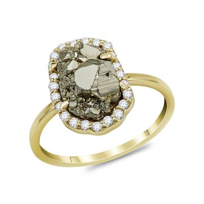Δαχτυλίδι με Σιδηροπυρίτη από Κίτρινο Χρυσό Κ14 DX974