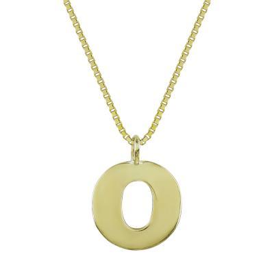 """Μονόγραμμα Μενταγιόν """"Ο"""" Από Κίτρινο Χρυσό Κ14 MG204"""