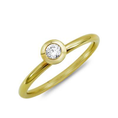 Μονόπετρο Δαχτυλίδι Με Διαμάντια Brilliant από Κίτρινο Χρυσό K18 DDX4757