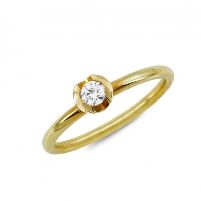 Μονόπετρο Δαχτυλίδι Breuning Με Διαμάντια Brilliant από Kίτρινο Χρυσό K18 DDX4787