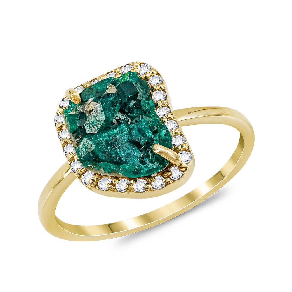 Δαχτυλίδι με Διοπτάσιο από Κίτρινο Χρυσό Κ14 DX973