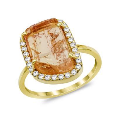Δαχτυλίδι με Topaz Zircon από Κίτρινο Χρυσό Κ14 DX975