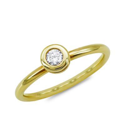 Μονόπετρο Δαχτυλίδι Με Διαμάντια Brilliant από Κίτρινο Χρυσό K18 DDX4781