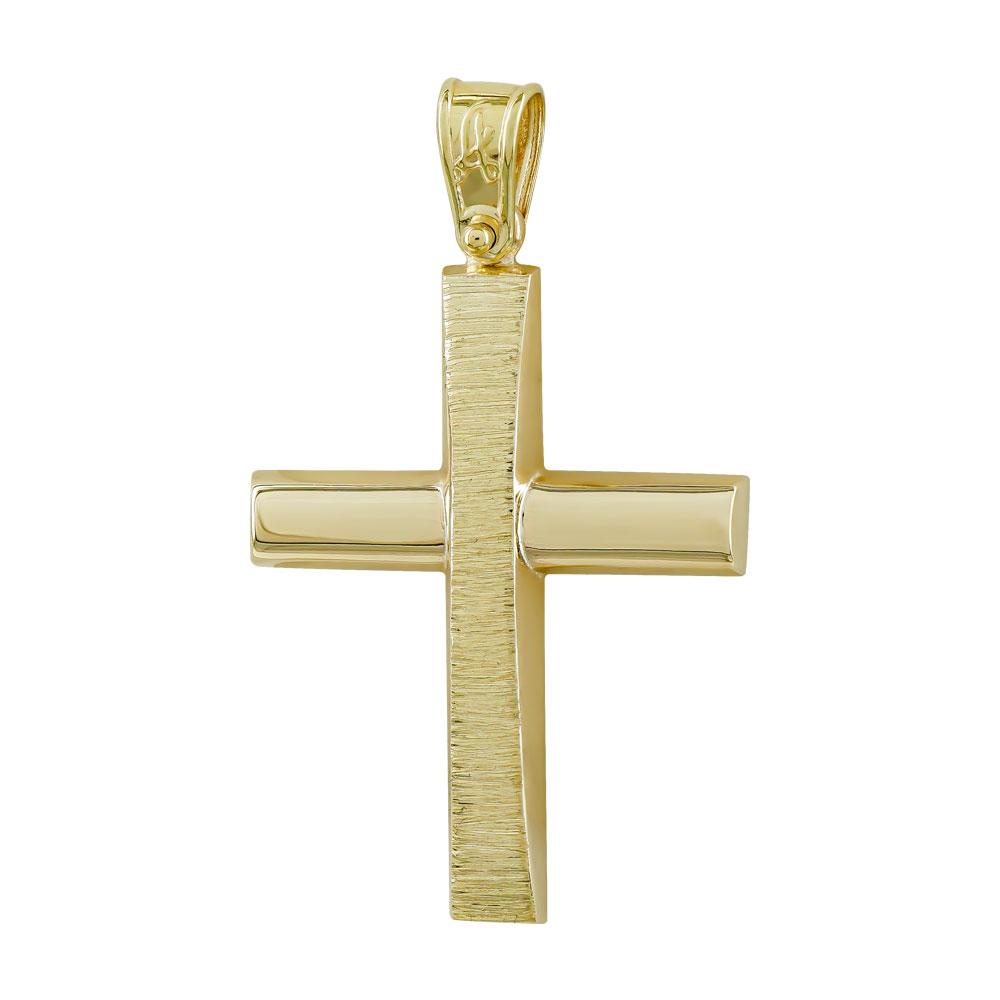 Σταυρός Βάπτισης Ανδρικός Σε Κίτρινο Χρυσό Κ9 ST2756