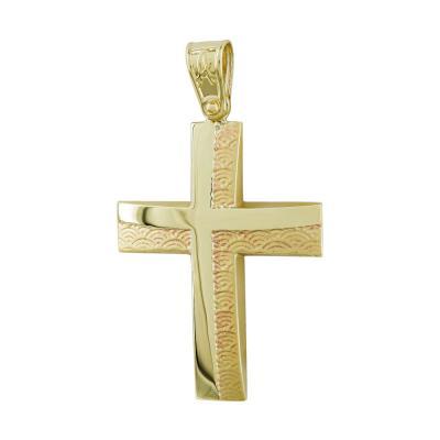 Σταυρός Βάπτισης Ανδρικός Σε Κίτρινο Χρυσό Κ9 ST2767