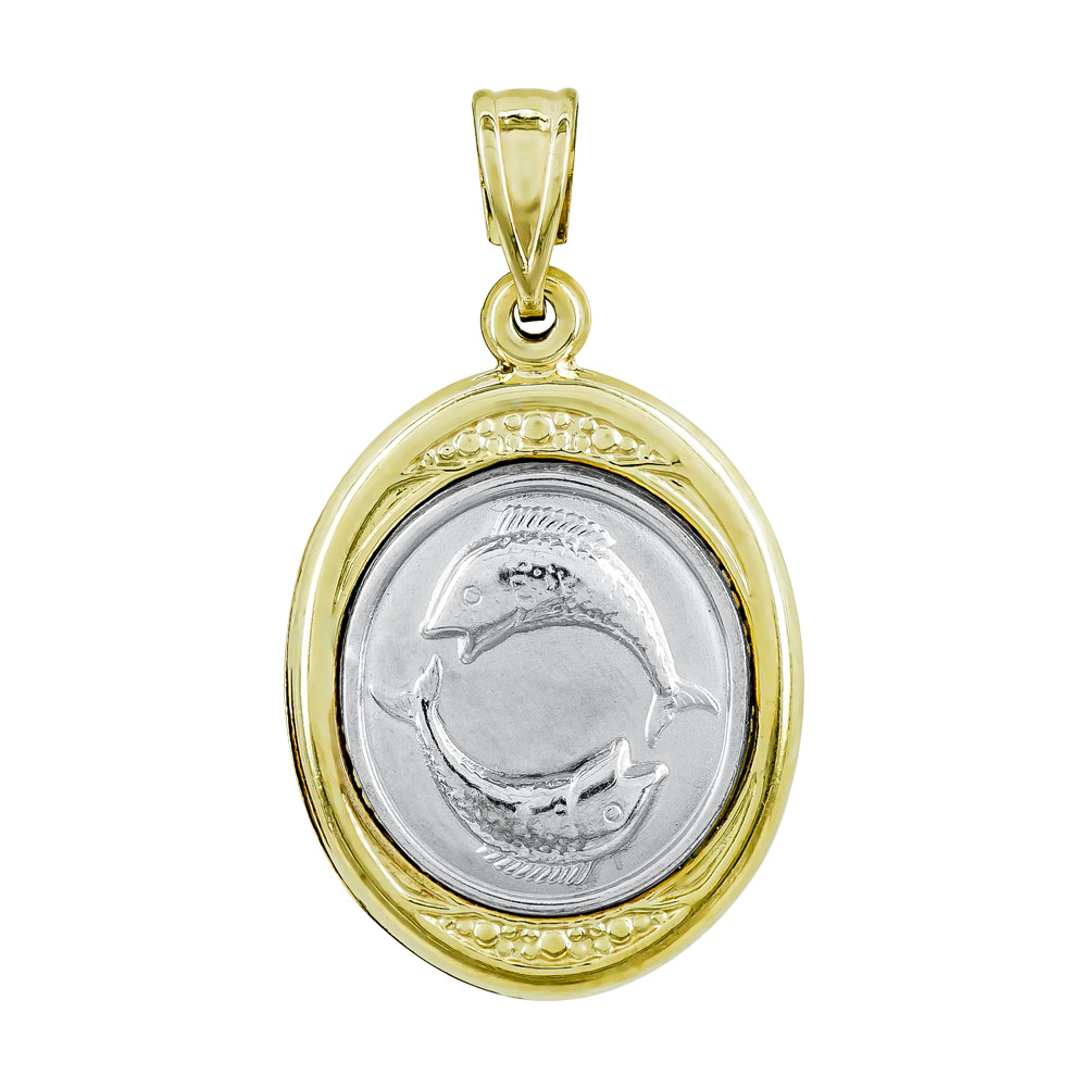 Ζώδιο Ιχθείς με Κωνσταντινάτο από Δίχρωμο Χρυσό Κ9 ZD243