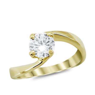 Μονόπετρο Δαχτυλίδι από Κίτρινο Χρυσό 14 Καρατίων DX983