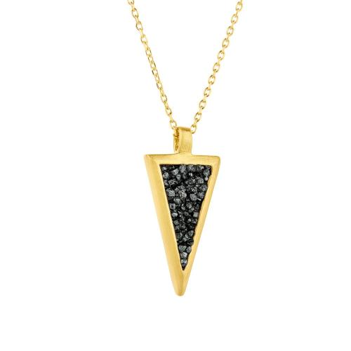 HONOR Κολιέ από Ασήμι Triangle With Diamonds SDP3YB