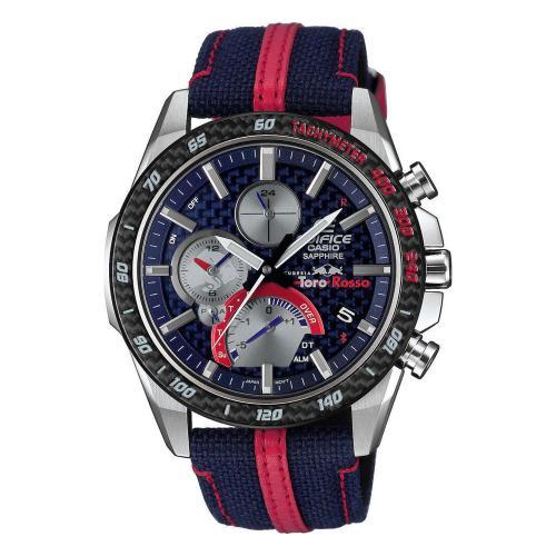 CASIO Edifice Toro Rosso Edition Solar Dual Time Chronograph Two Tone Fabric Strap EQB-1000TR-2AER