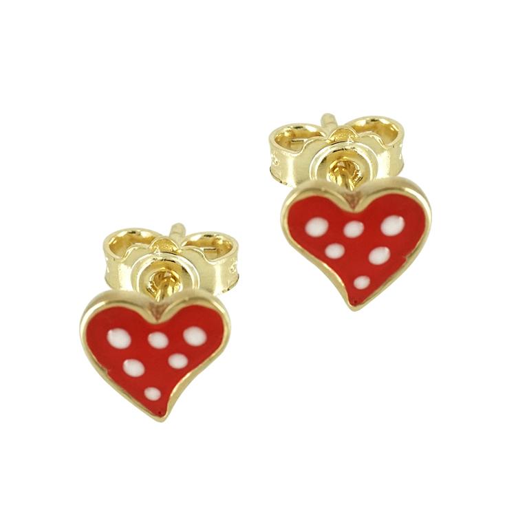 Παιδικά Σκουλαρίκια Καρδούλες Από Επιχρυσωμένο Ασήμι PSK470