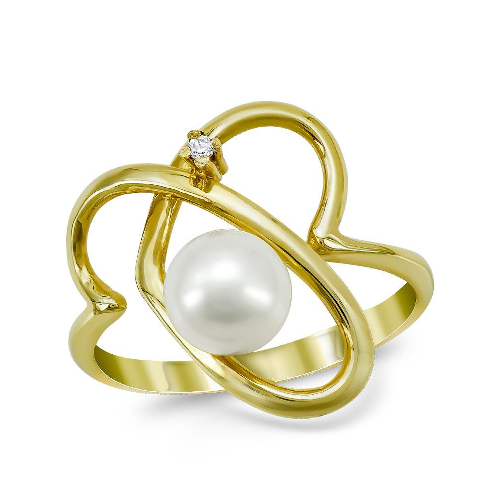Δαχτυλίδι με Φυσικό Μαργαριτάρι από Κίτρινο Χρυσό Κ14 DX961