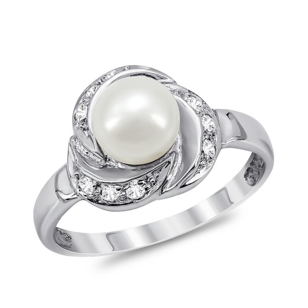 Δαχτυλίδι με Φυσικό Μαργαριτάρι από Λευκό Χρυσό Κ14 DX938