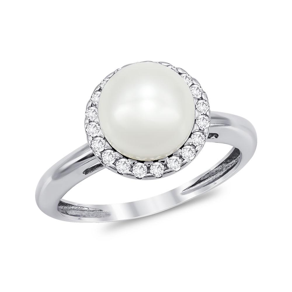 Δαχτυλίδι με Φυσικό Μαργαριτάρι από Λευκό Χρυσό Κ14 DX923