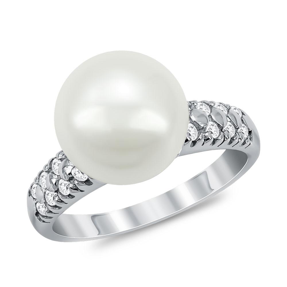 Δαχτυλίδι με Φυσικό Μαργαριτάρι από Λευκό Χρυσό Κ14 DX935