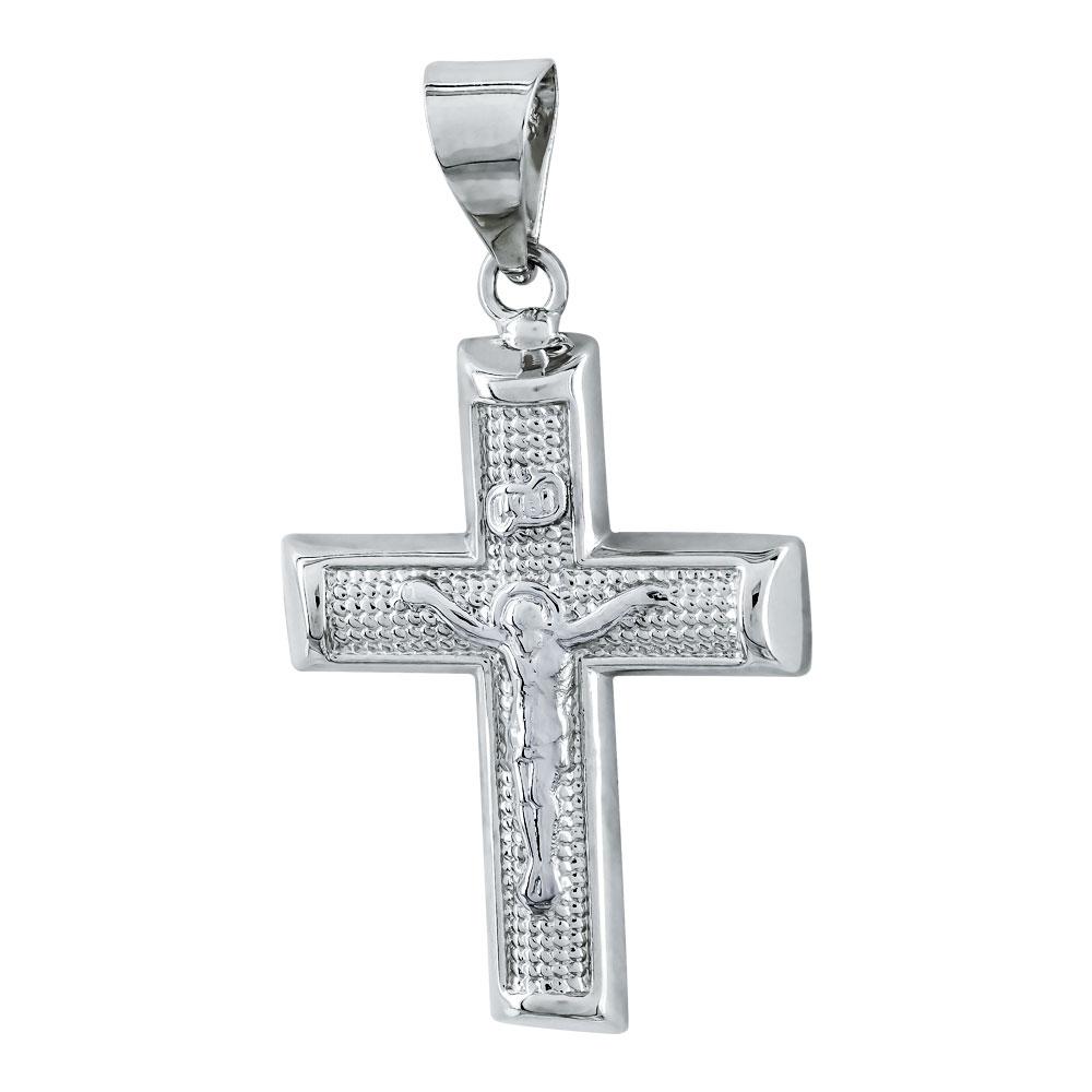 Σταυρός Βάπτισης Ανδρικός Σε Δίχρωμο Χρυσό Κ9 ST2742