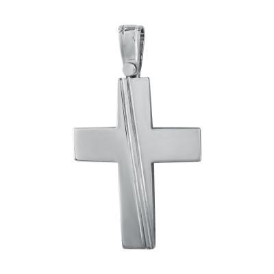 Σταυρός Βάπτισης Ανδρικός Σε Λευκό Χρυσό 14 Καρατίων ST2796