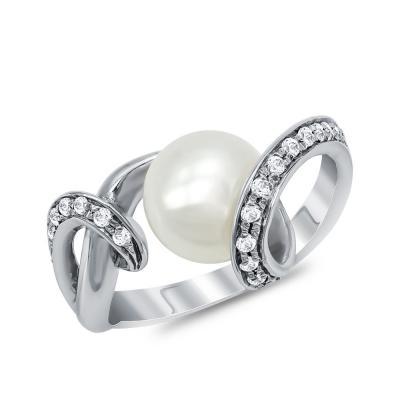 Δαχτυλίδι με Φυσικό Μαργαριτάρι από Λευκό Χρυσό Κ18 DΧ953