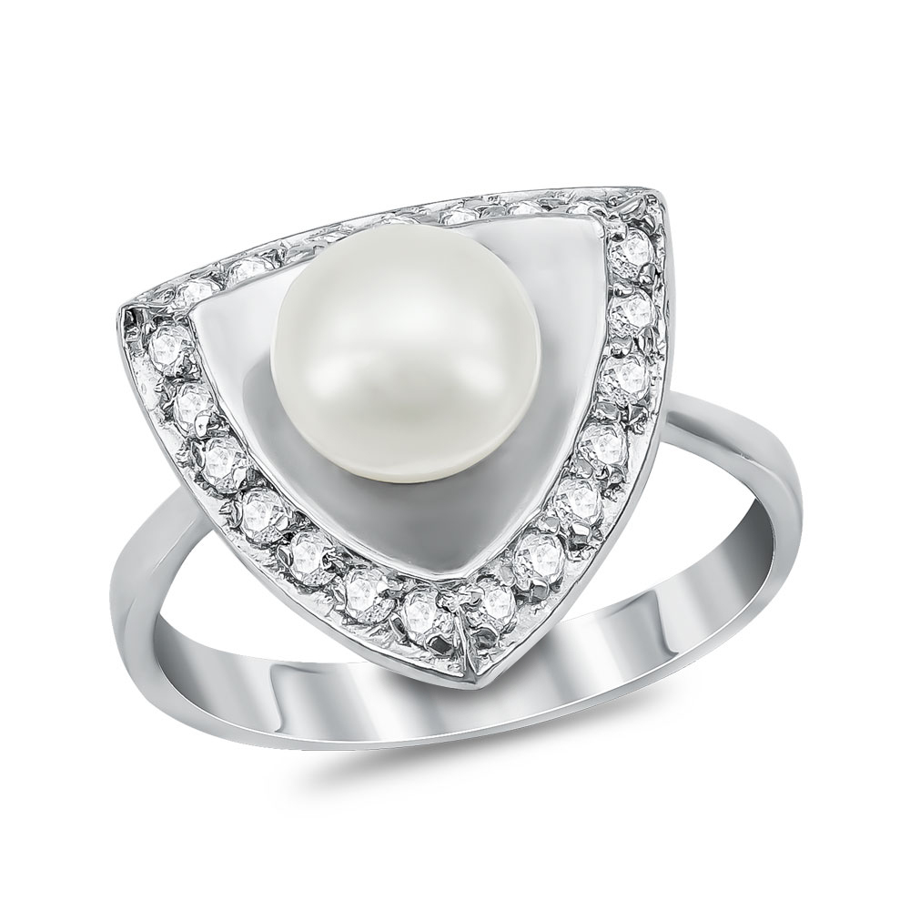 Δαχτυλίδι με Φυσικό Μαργαριτάρι από Λευκό Χρυσό Κ14 DX926